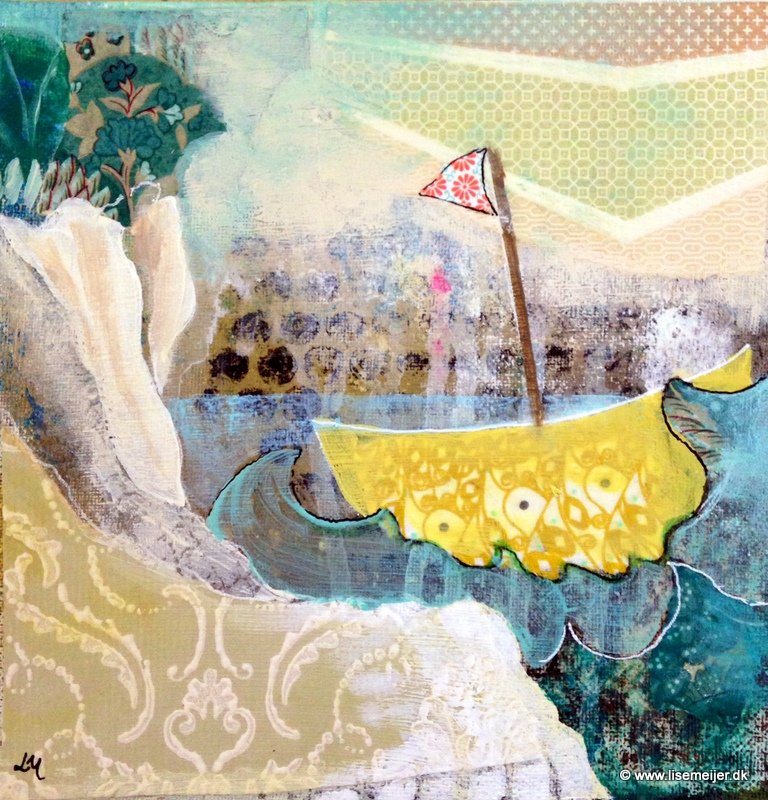"""""Sail on/ Sejl videre"" Acrylic and paper on canvas, 20 x 20 cm -(Sold)"